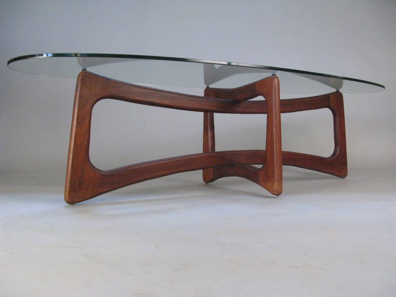 Sculptural Modern Walnut And Glass Table By Adrian