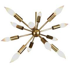Brass Sputnik Multi-Light Chandelier by Lightolier