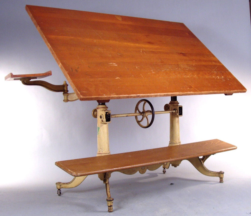 Antique Adjustable Cast Iron Drafting Table By Keuffel And
