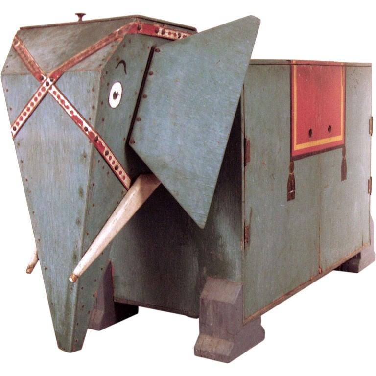 Antique Folk Art Elephant Cabinet at 1stdibs