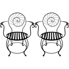Pair of Charming 'Nautilus' Chairs in Wrought Iron
