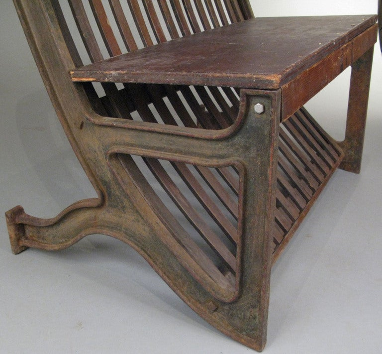 Antique Cast Iron And Oak Hooded Bench At 1stdibs