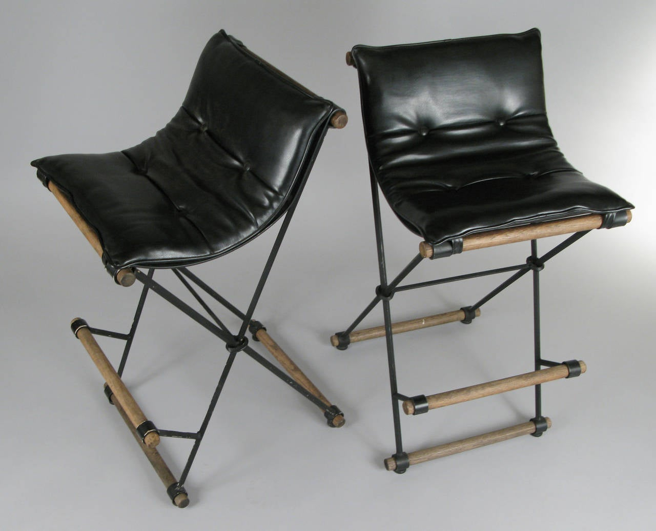 American Pair of Iron Campaign Barstools by Cleo Baldon