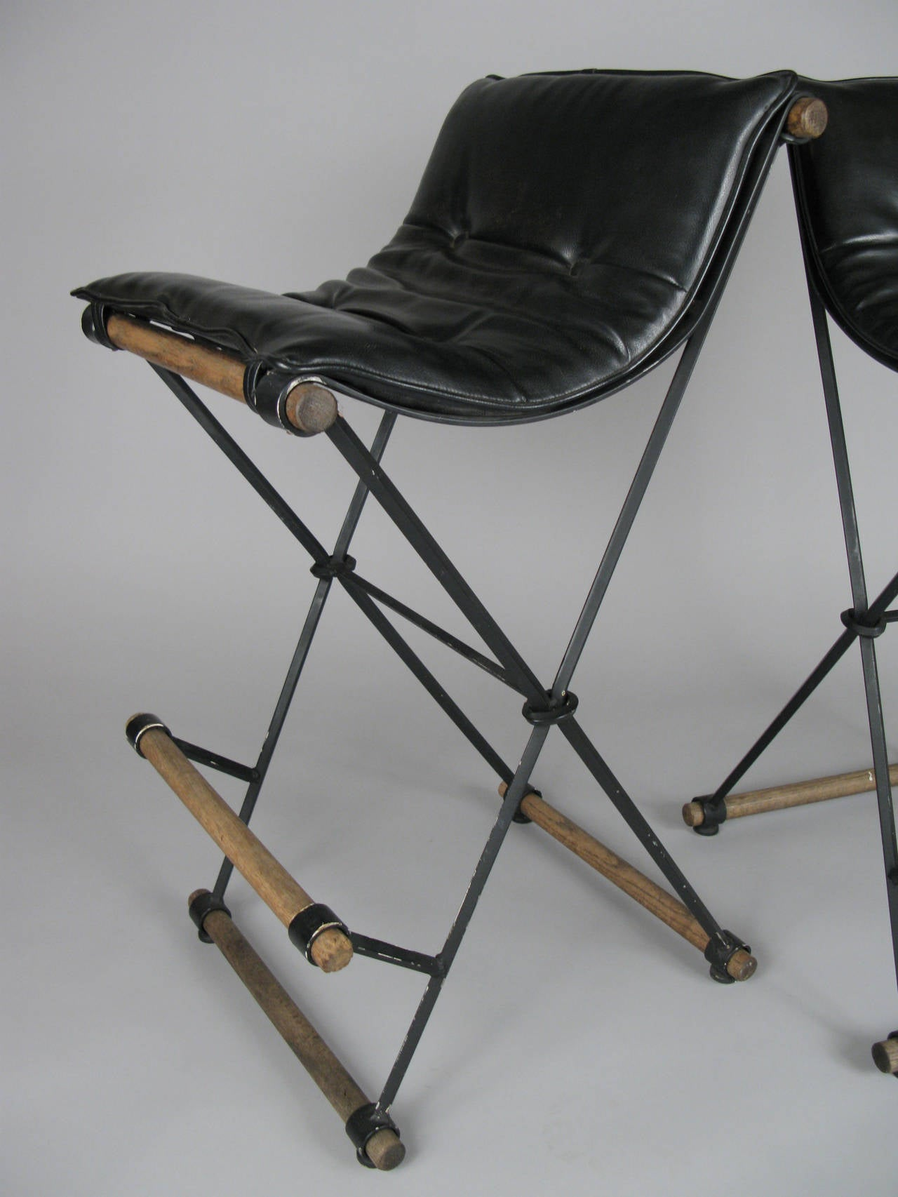 Pair of Iron Campaign Barstools by Cleo Baldon In Good Condition In Hudson, NY