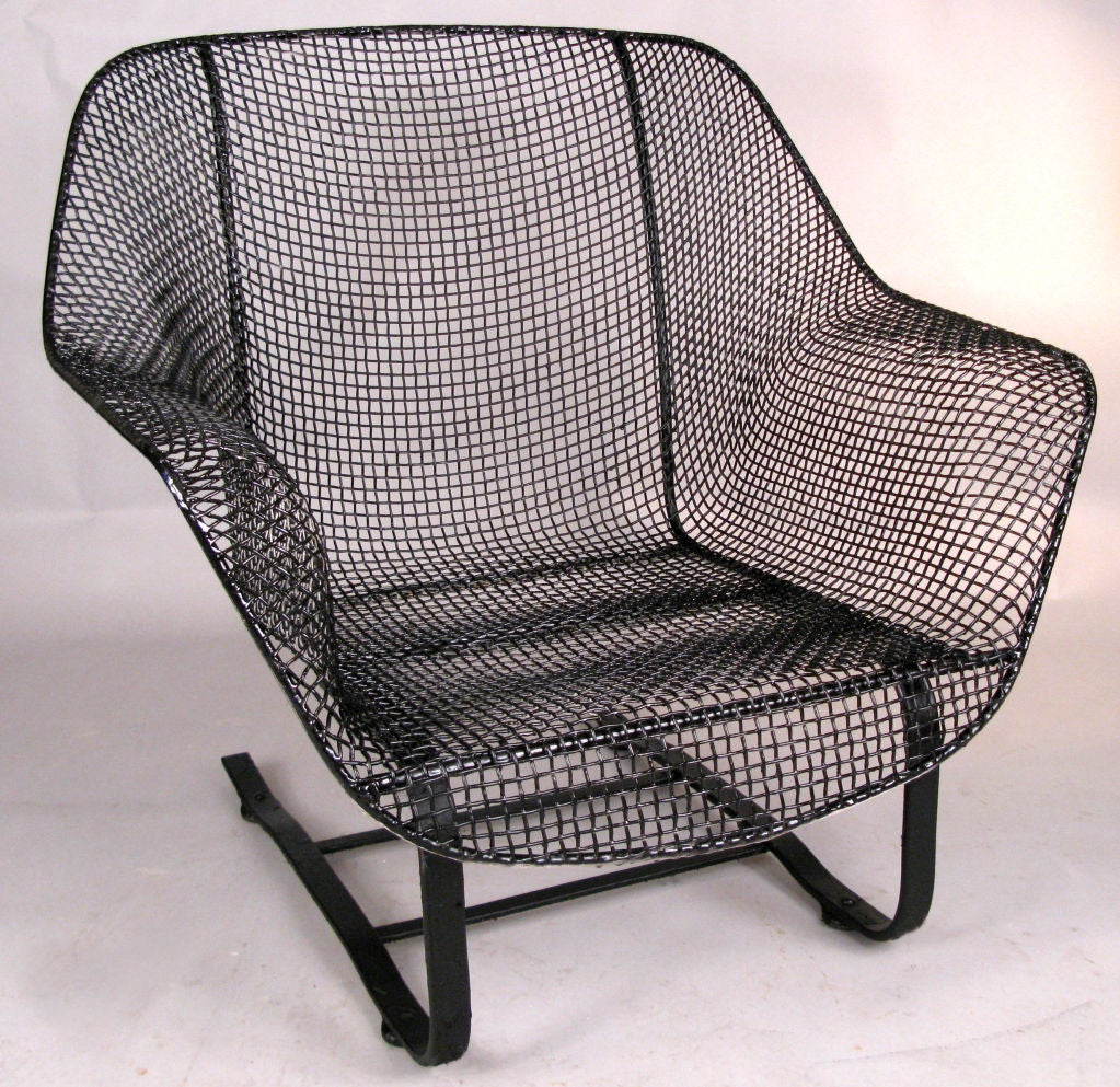 Pair Of Vintage Mesh Spring Lounge Chairs By Russell