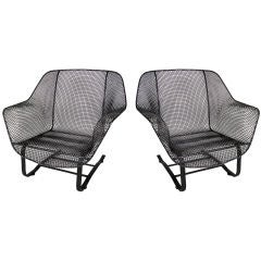 Pair of Vintage Mesh Spring Lounge Chairs by Russell Woodard