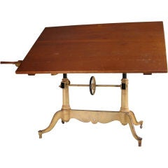 Antique Adjustable Cast Iron Drafting Table by Keuffel & Esser