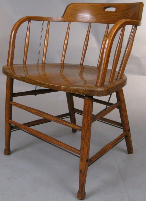 Set of Six Oak Firehouse Chairs at 1stdibs