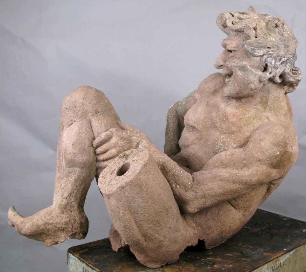 Old Garden Statue: Antique Cast Stone Satyr Garden Statue At 1stdibs