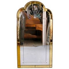 Antique Art Deco Yellow Glass Mirror