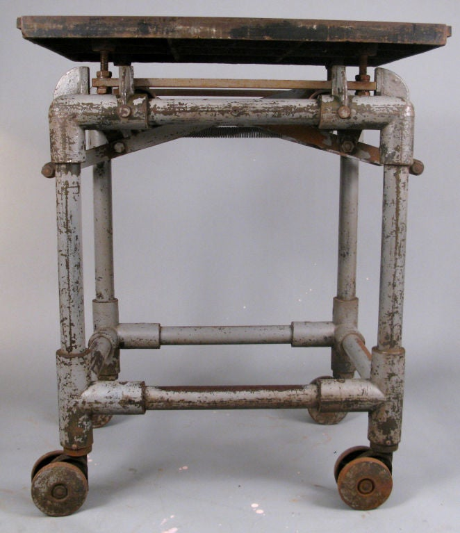 Vintage Industrial Iron Transfer Cart Coffee Table: Antique Industrial Cast Iron Rolling Printers Table At 1stdibs