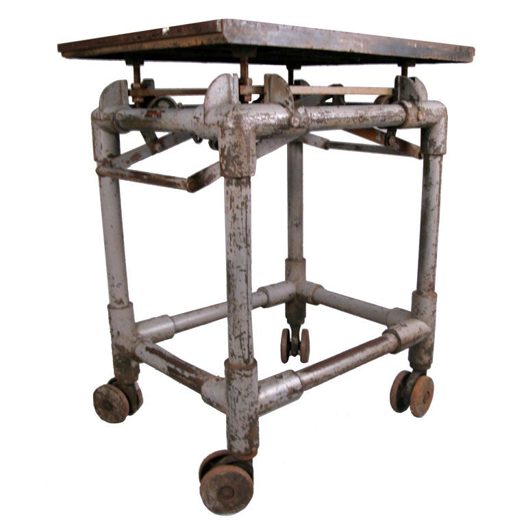 Industrial Coffee Table On Wheels At 1stdibs: Antique Industrial Cast Iron Rolling Printers Table At 1stdibs