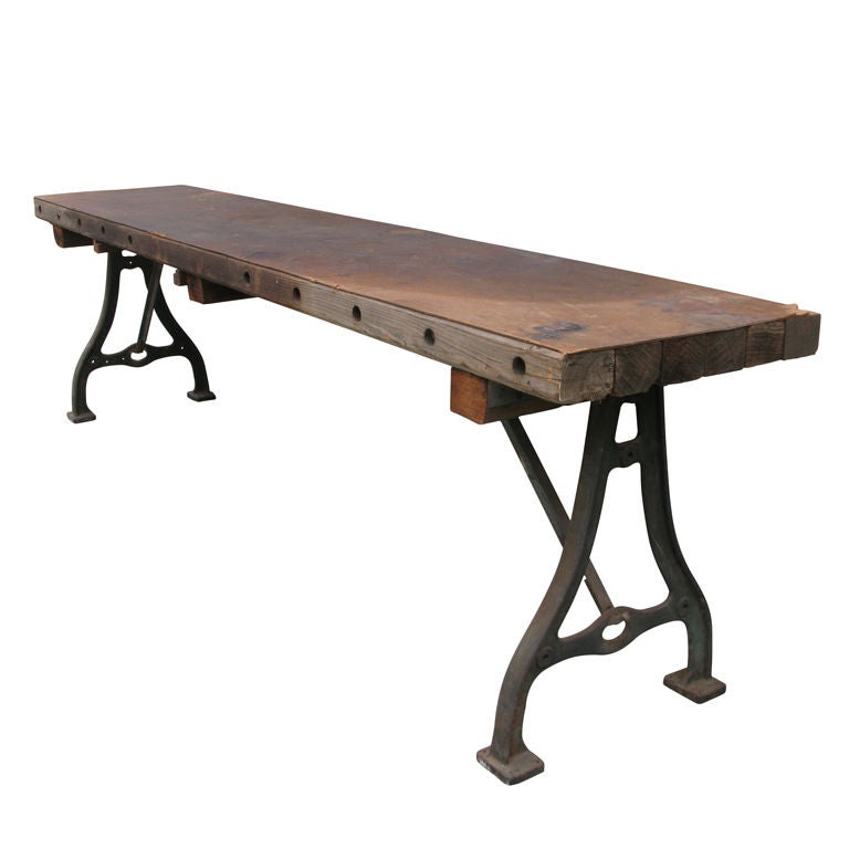 antique industrial cast iron base console table at 1stdibs. Black Bedroom Furniture Sets. Home Design Ideas