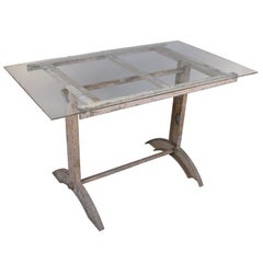 Antique Industrial Cast Iron Table