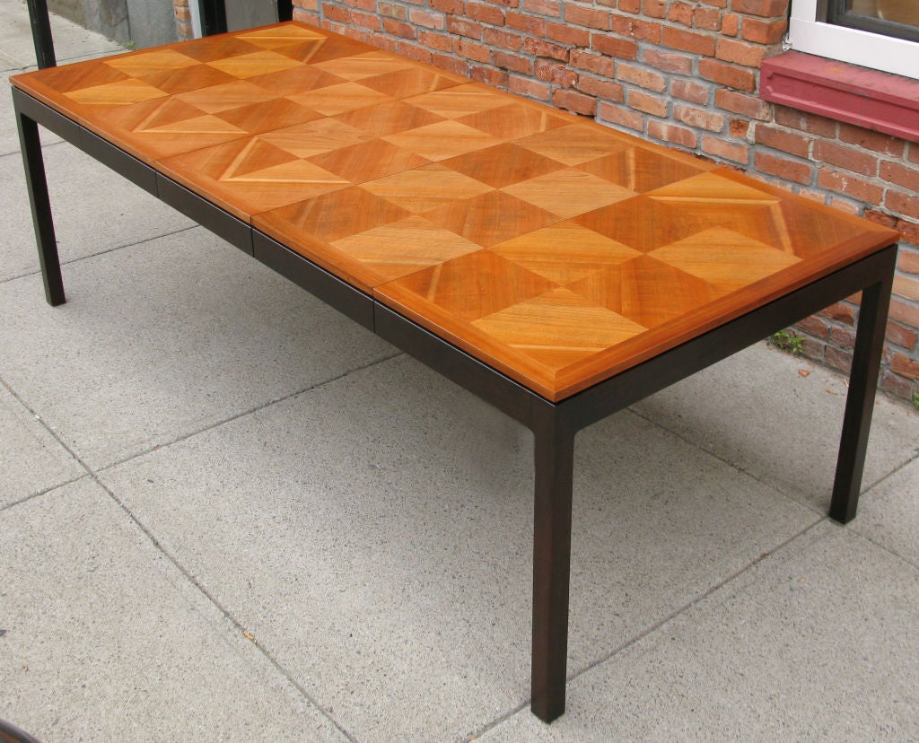 Vintage Walnut Parquet Extension Dining Table By Johnson