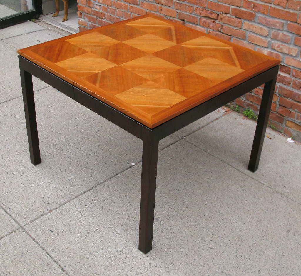 Vintage Walnut Parquet Extension Dining Table by Johnson  : 879113152329508 from 1stdibs.com size 1024 x 939 jpeg 190kB