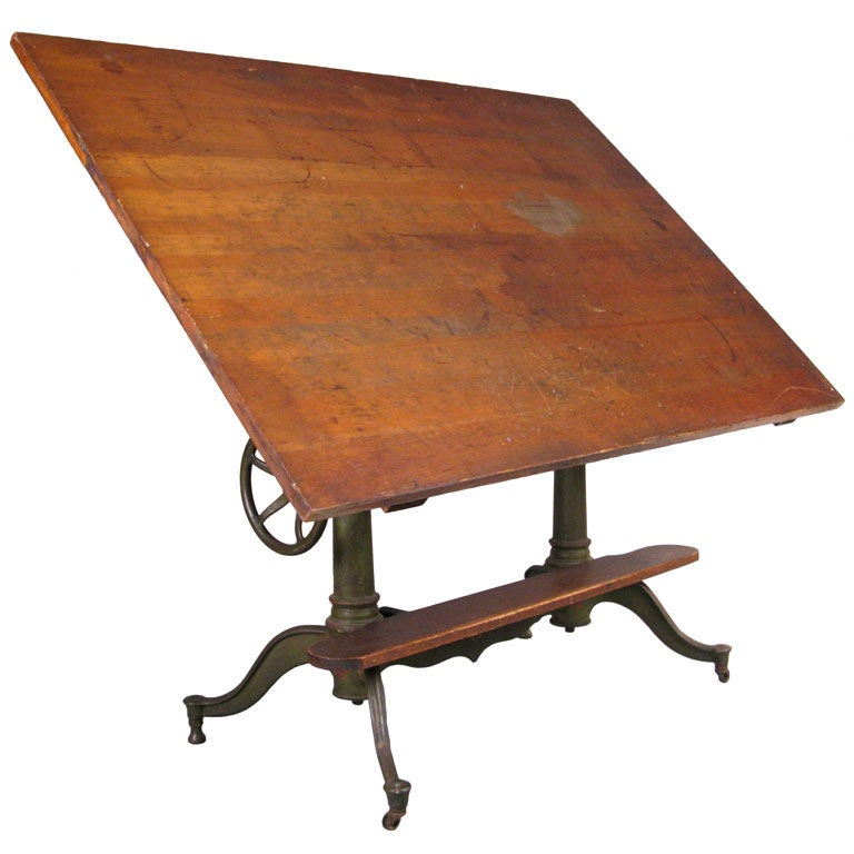 Exceptional Antique Cast Iron Adjustable Drafting Table At