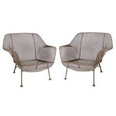 Pair of Vintage 'Sculptura' Garden Lounge Chairs by Woodard