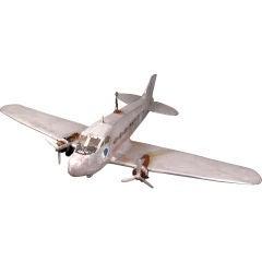 Vintage Large Handmade Folk Art Aluminum Airplane Model