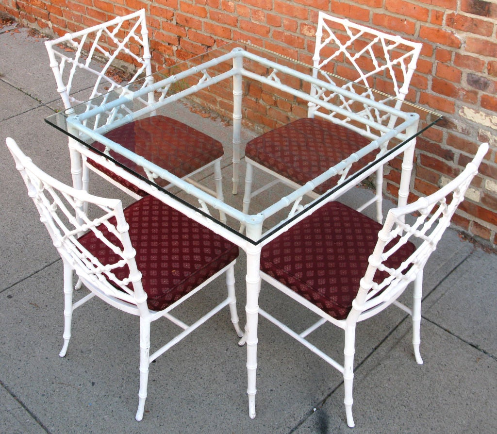 Vintage Cast Iron Bamboo Dining Table And Chairs At 1stdibs