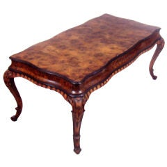 Antique Italian Burled Elm Carved Table