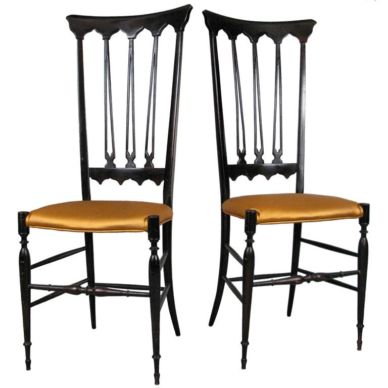 Pair Of Elegant Italian High Back Chiavari Chairs At 1stdibs
