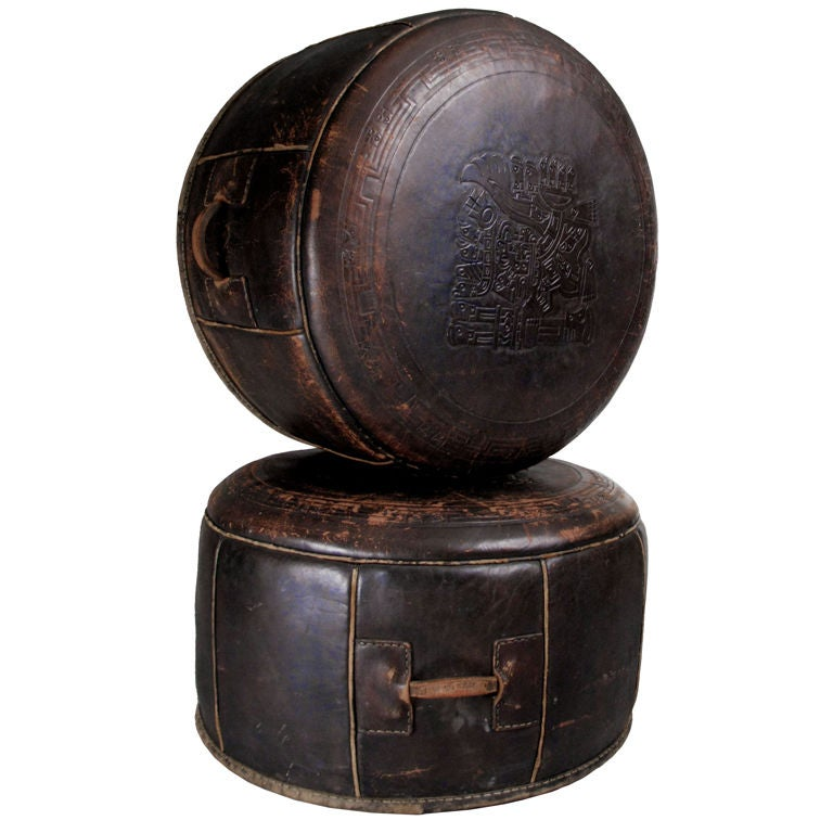 Pair Of Antique Saddle Leather Hassock Ottomans At 1stdibs
