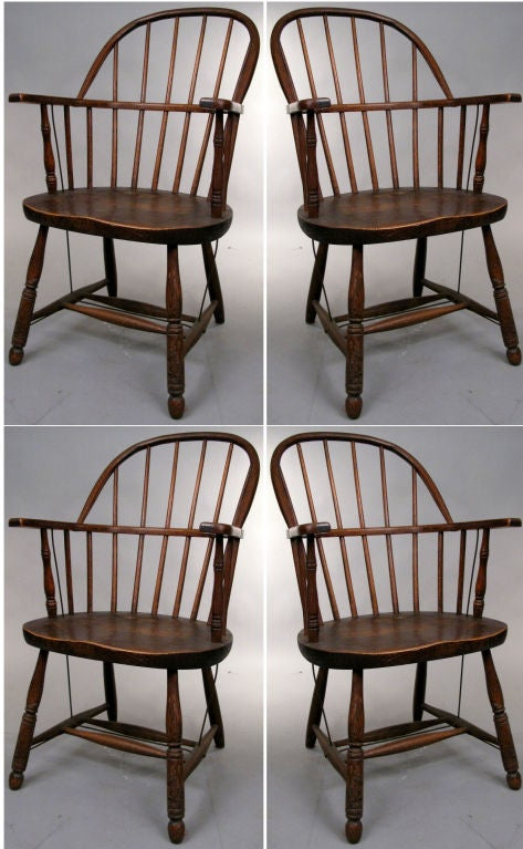 Set of Four Antique Firehouse Windsor Chairs 2 - Set Of Four Antique Firehouse Windsor Chairs At 1stdibs
