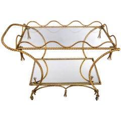 Vintage Italian Gilt Rope & Tassel Bar Cart
