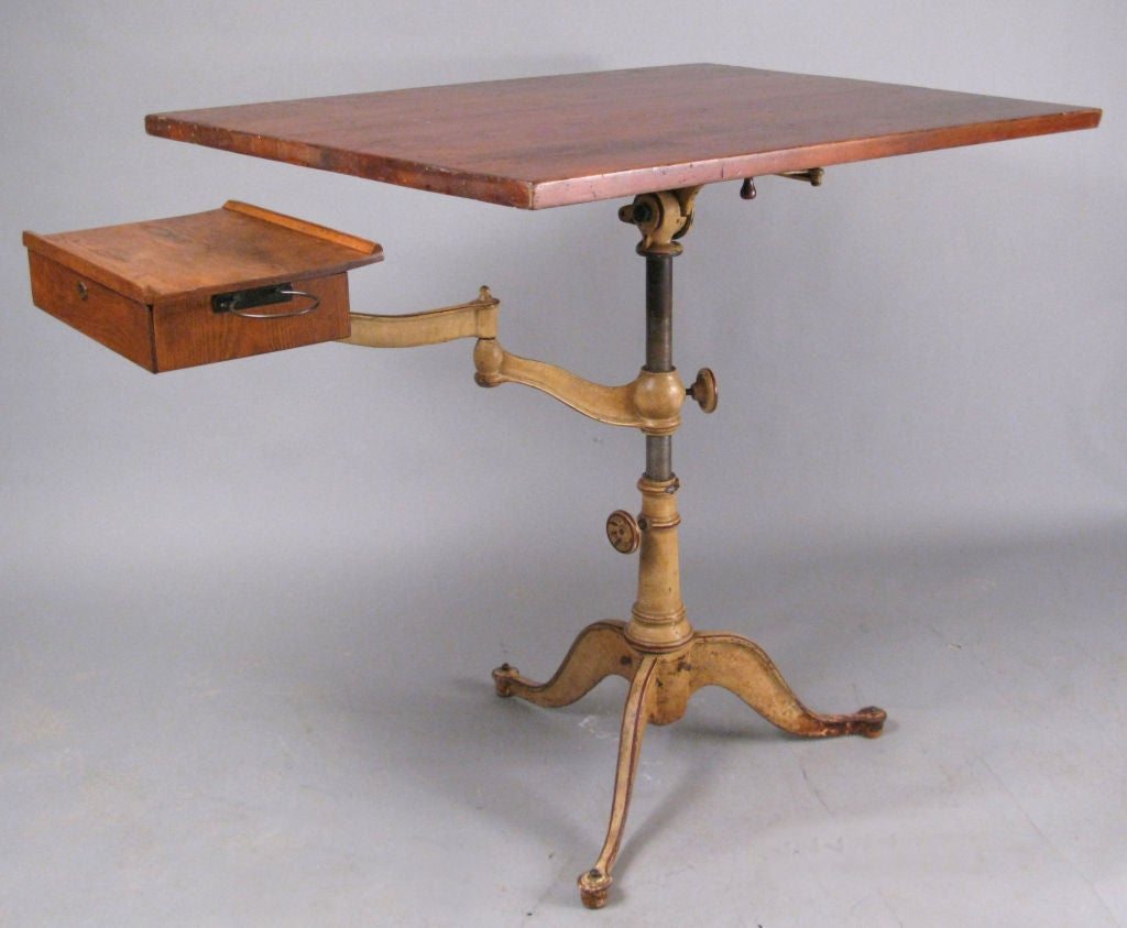 Antique Industrial Cast Iron Drafting Table By Dietzgen 3