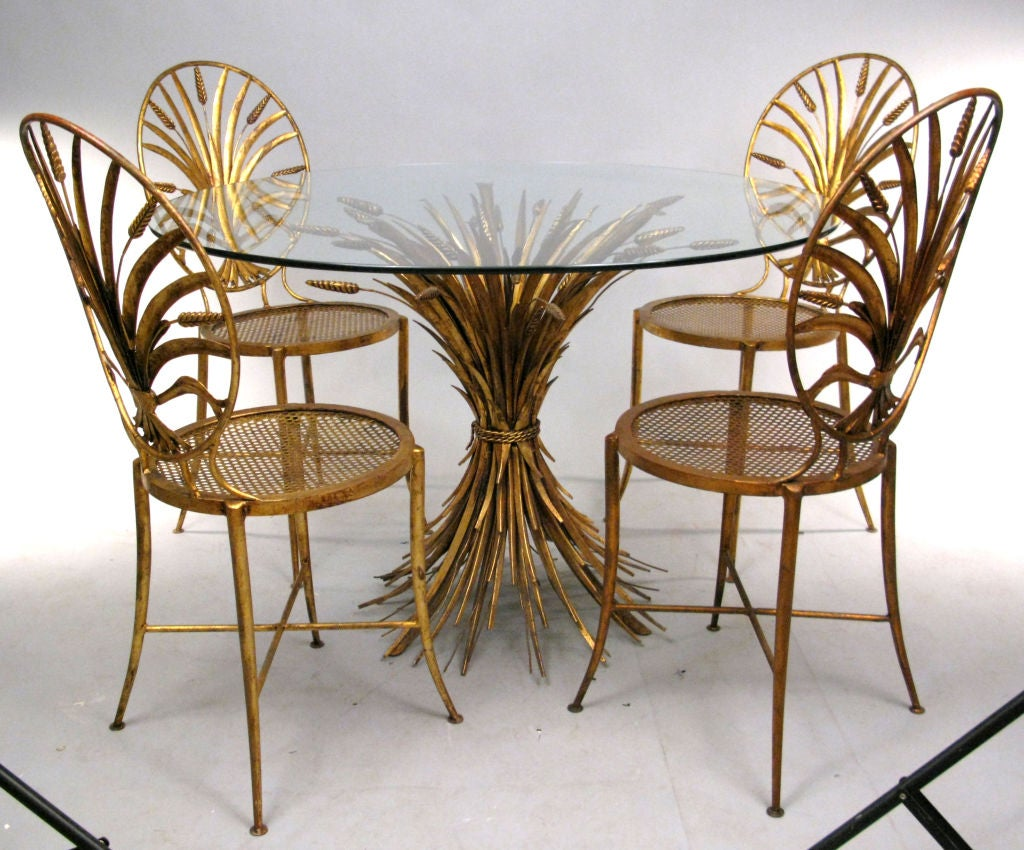 Vintage hollywood regency italian gilt wheat dining table for Regency dining room