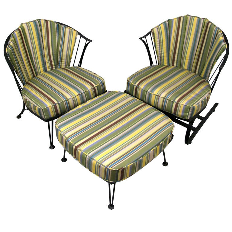 Pair of Wrought Iron Lounge Chairs and Ottoman by Woodard at 1stdibs