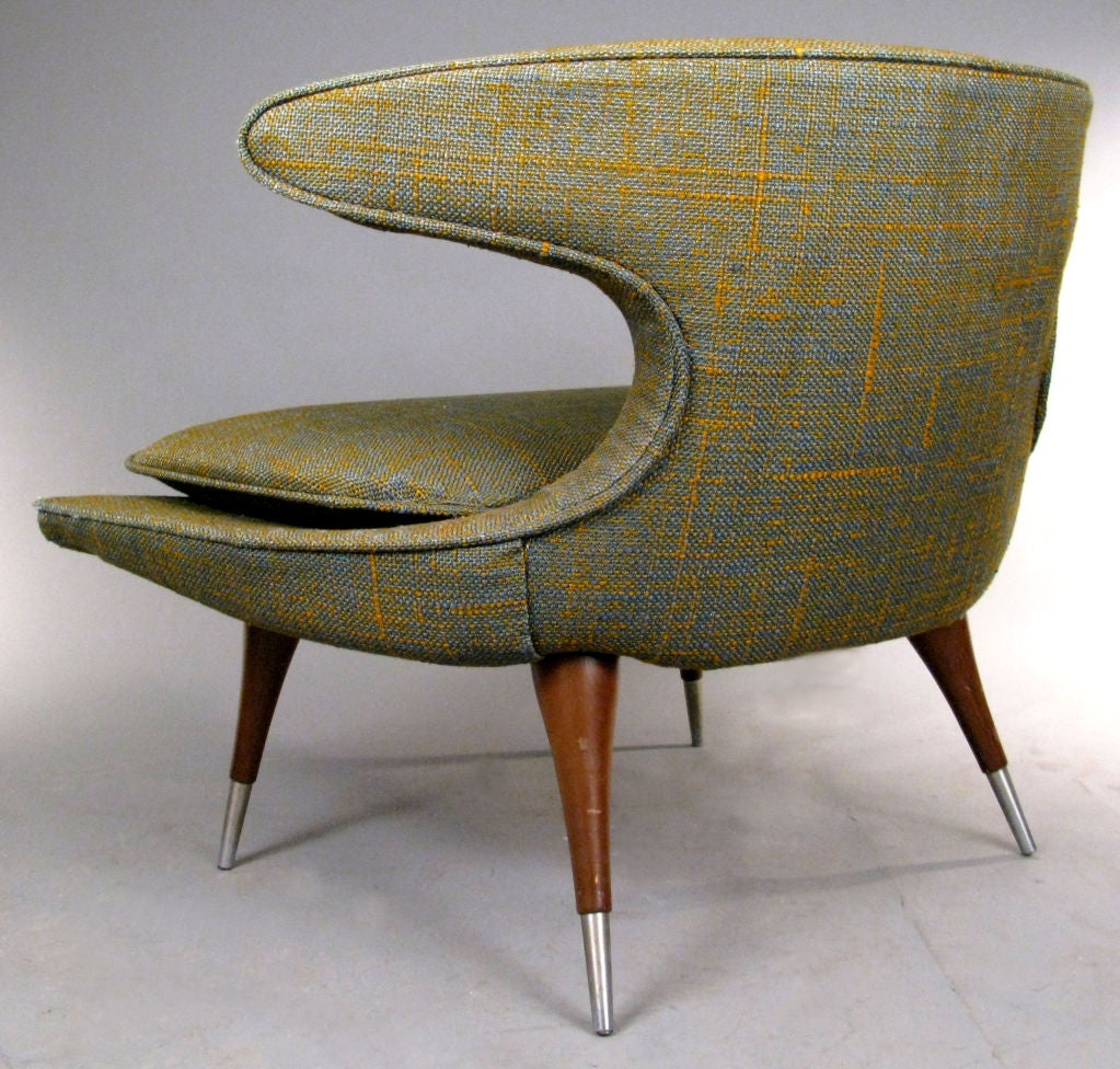 Upholstery Modern Sculptural 'Horn' Lounge Chair by Karpen For Sale