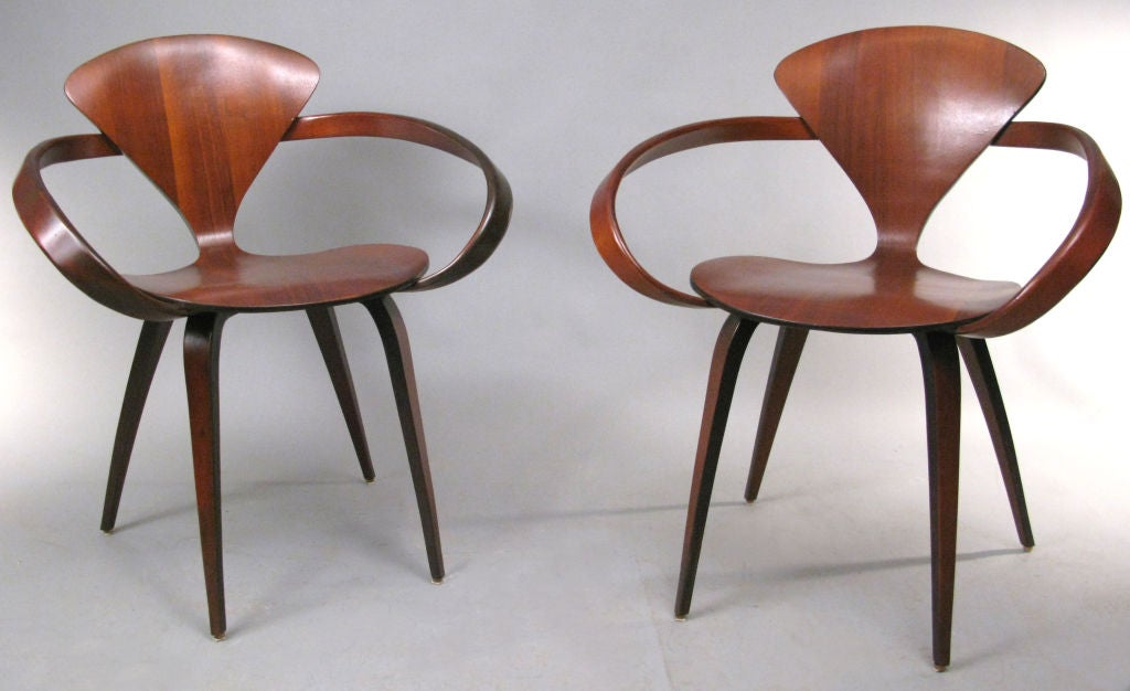 set of four vintage walnut chairs by norman cherner 3