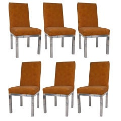 Set of Six Vintage Modern Chrome Parsons Base Dining Chairs