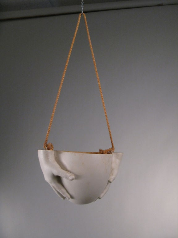 Signed Ceramic 'Hands' Hanging Bowl by Richard Etts 1974 4
