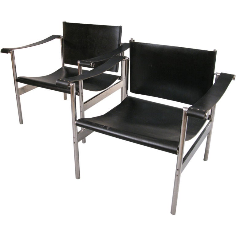 Pair Of Vintage Modern Chrome And Leather Lounge Chairs At 1stdibs