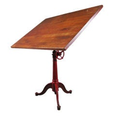 Antique Industrial Cast Iron Drafting Table in Red