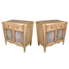 Pair of 1940's Bleached Walnut Nightstands by Grosfeld House