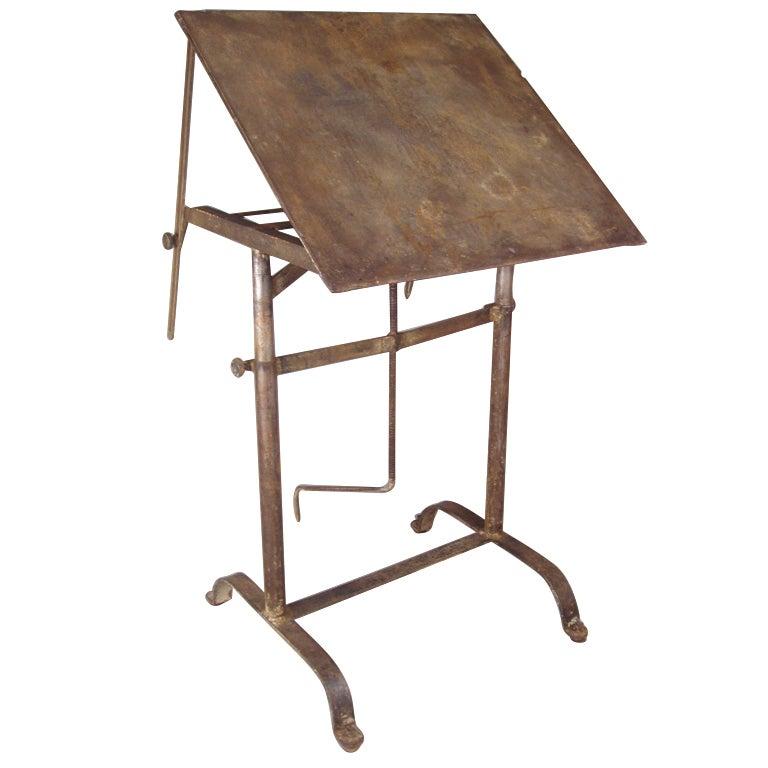 Antique Industrial Steel Adjustable Drafting Table