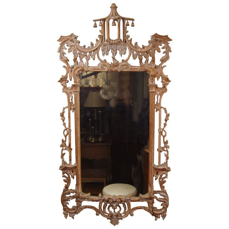 Italian carved chinese chippendale style mirror at 1stdibs for Asian style mirror