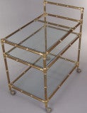 Vintage Italian Brass Bamboo Bar Cart thumbnail 2