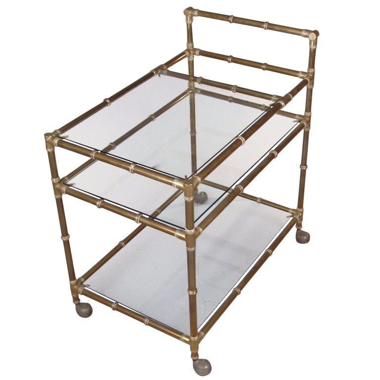 Vintage Italian Brass Bamboo Bar Cart