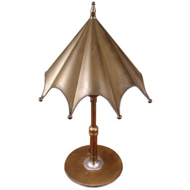 Charming 1930's Brass Umbrella Lamp