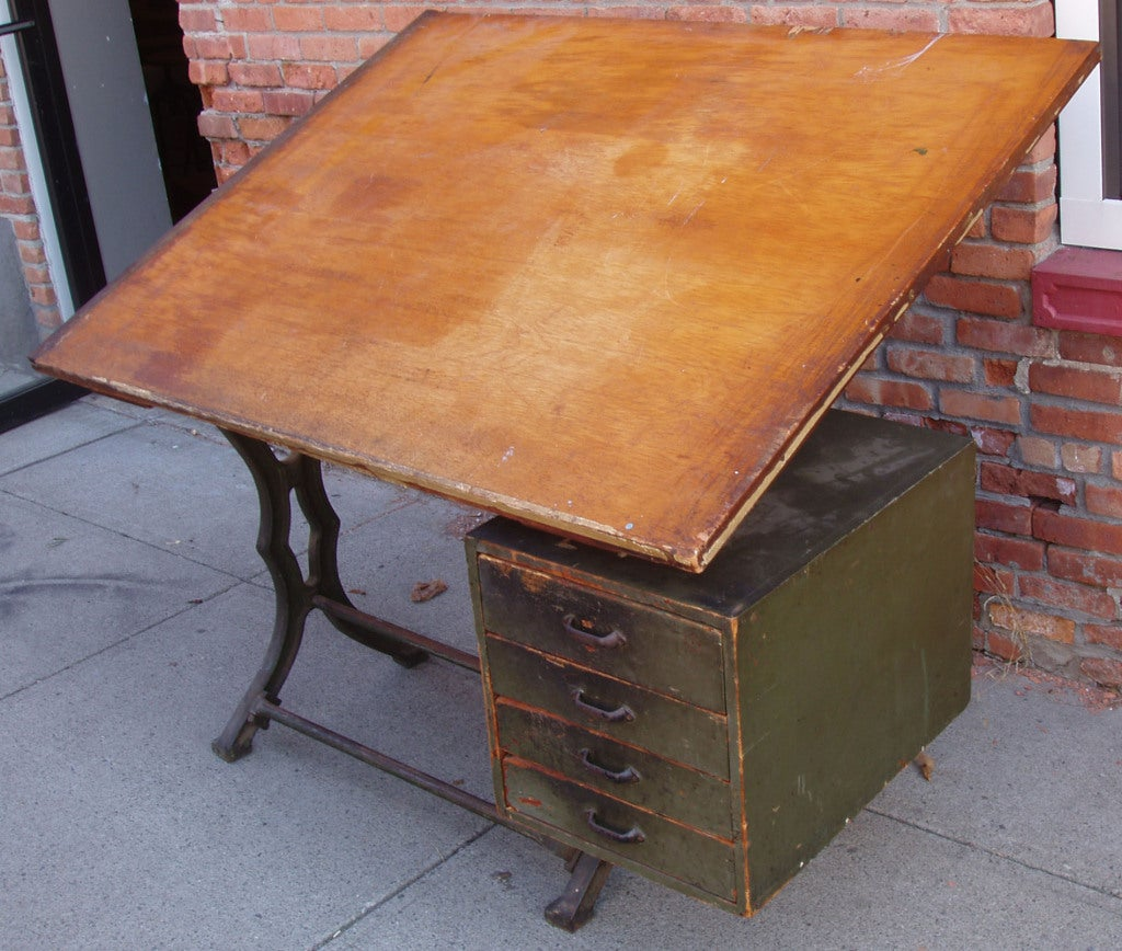 Antique Industrial Cast Iron Drafting Table Image 3