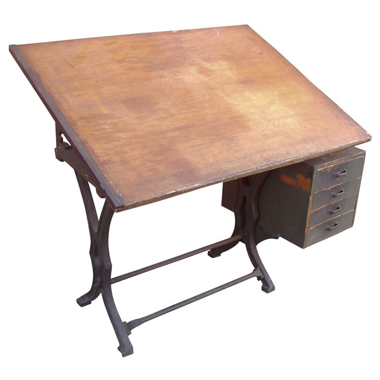 Antique Industrial Cast Iron Drafting Table At 1stdibs