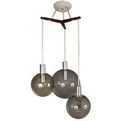 Three Globe Teak & Glass Hanging Light Fixture by Lightolier