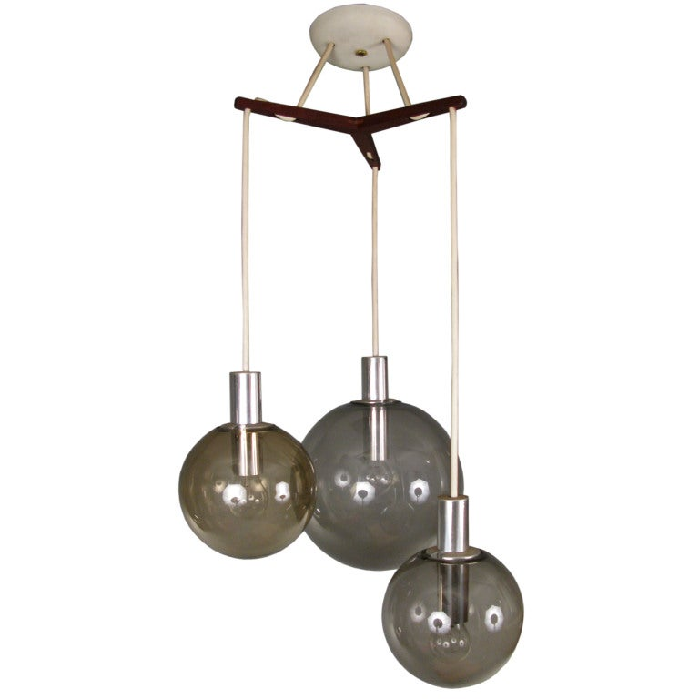 Three Globe Teak And Glass Hanging Light Fixture By