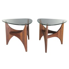 Walnut & Glass Tables by Adrian Pearsall