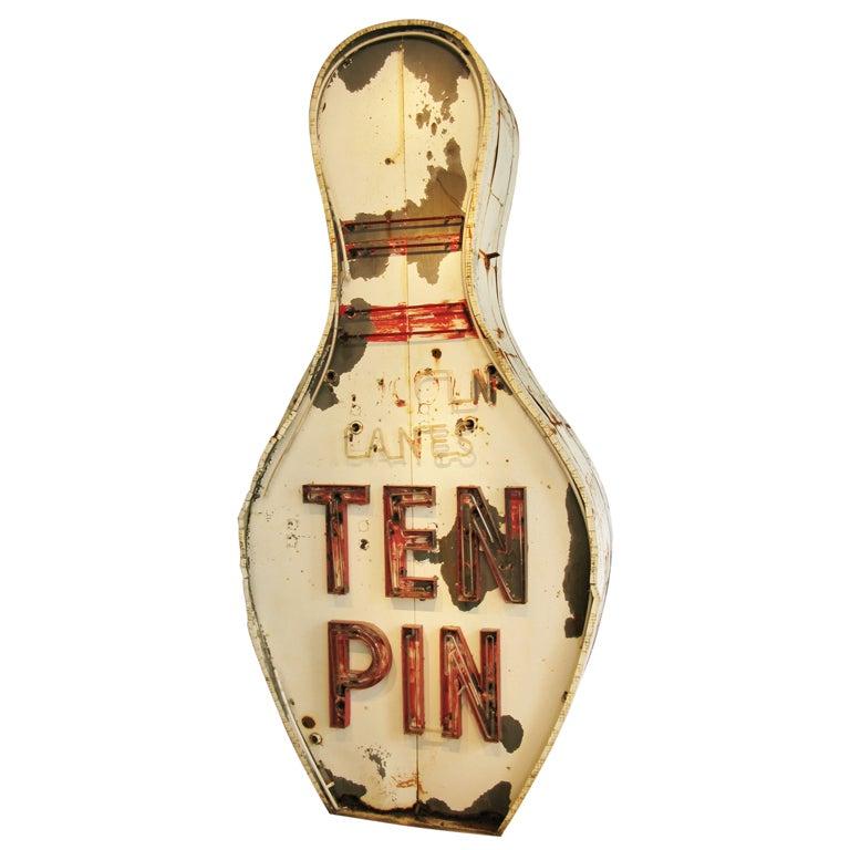 Monumental Ten Pin Neon Bowling Sign At 1stdibs